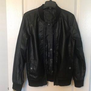 Black Big Boys Faux Leather Jacket
